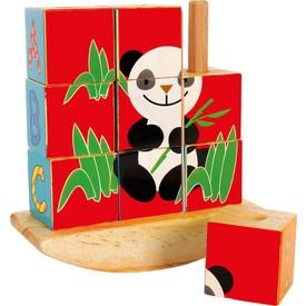 Small foot Dřevěné kostkové puzzle na tyči slon Panda