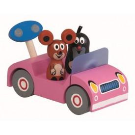 Dřevěné hračky - Krtek na výletě - růžové auto
