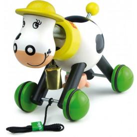 Dřevěná hračka Vilac - Dřevěná tahací kravička s domečkem