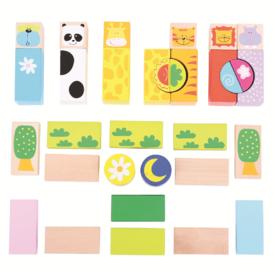 Bigjigs Toys barevné kostky Safari