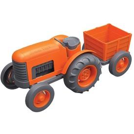 Green Toys Traktor s vlečkou oranžový