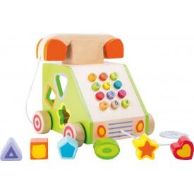 Dřevěná motorická hra tahací telefon - poškozený obal