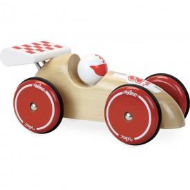 Vilac Závodní auto XL přírodní s bílým křídlem
