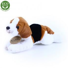 Rappa Plyšový pes ležící 16 cm ECO-FRIENDLY 1 ks hnědo - bílý