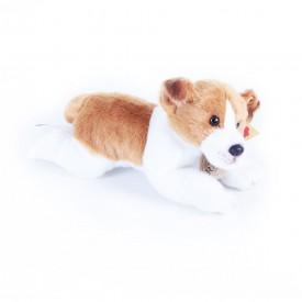 Rappa Plyšový pes ležící se zvukem Jack Russel 18cm hnědo-bílý