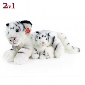 Rappa Plyšový tygr bílý s mládětem 38 cm