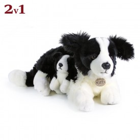 Rappa Plyšový pes border kolie s mládětem 45 cm