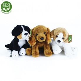 Rappa Plyšový pes sedící 14 cm ECO-FRIENDLY 1ks hnědá