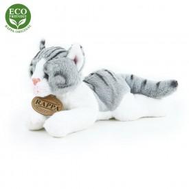 Rappa Plyšová kočka ležící 18 cm ECO-FRIENDLY 1 ks šedo-bílá A