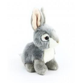 Rappa Plyšový králík sedící 16 cm 1 ks šedo - bílý