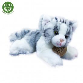 Rappa Plyšová kočka ležící 17 cm ECO-FRIENDLY 1 ks šedo-bílá