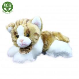 Rappa Plyšová kočka ležící 17 cm ECO-FRIENDLY 1 ks hnědo-bílá