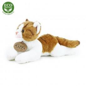 Rappa Plyšová kočka ležící 18 cm ECO-FRIENDLY 1 ks hnědo-bílá C