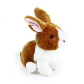 Rappa Plyšový králík sedící 16 cm 1 ks hnědo - bílý