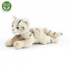 Rappa Plyšová kočka ležící 18 cm ECO-FRIENDLY 1 ks mourovaná béžová  D