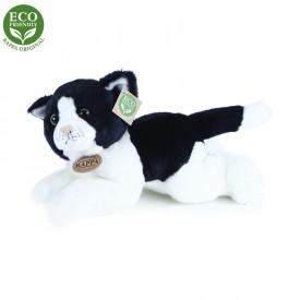 Rappa Plyšová kočka bílo-černá ležící 30 cm ECO-FRIENDLY