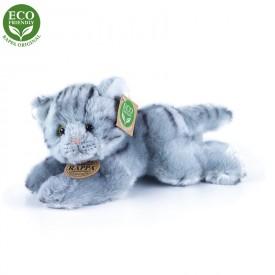 Rappa Plyšová kočka šedá ležící 30 cm ECO-FRIENDLY