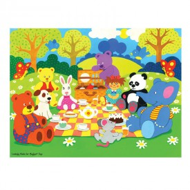 Dřevěné puzzle - Piknik v parku - 48 dílků
