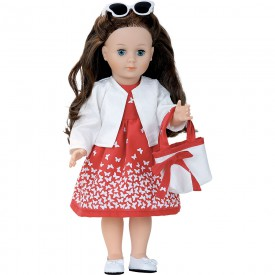 Petitcollin Panenka Marie-Françoise 40 cm Madone červené šaty