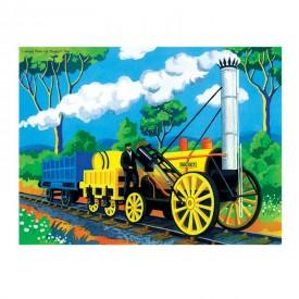 Dřevěné puzzle - Historický vlak The Rocket  - 48 dílků
