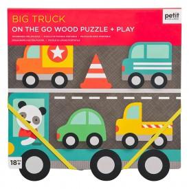 Petitcollage Robustní dřevěné puzzle Big Truck