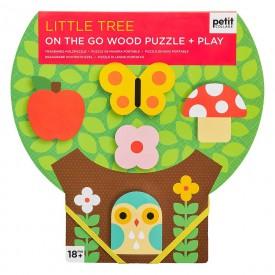 Petitcollage Robustní dřevěné puzzle  Malý strom