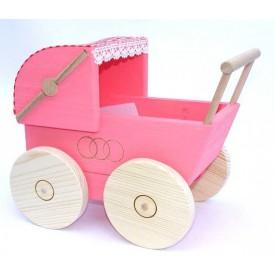 Dřevěný kočárek pro panenky růžový