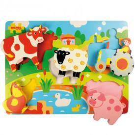 Bigjigs dřevěné vkládací puzzle - Farma