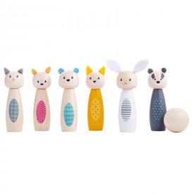 Bigjigs Toys Kuželky lesní zvířátka