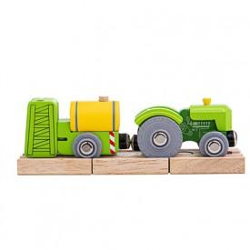 Bigjigs Rail Traktor s vlečkou zelený