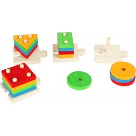 Small Foot Puzzle Nasazování barevných tvarů na tyče