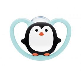NUK NUK Dudlík Space holka 6-18 měs. tučňák modrá