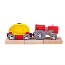 Bigjigs Rail Červený traktor s valníkem