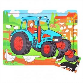 Dřevěné hračky - Puzzle Traktor - 9 dílků