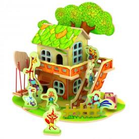 Dřevěné skládačky 3D puzzle - Domeček se zvířátky