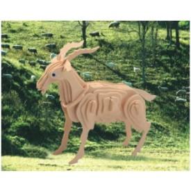 Dřevěné 3D puzzle dřevěná skládačka zvířata - Koza M008