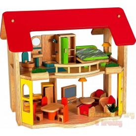 Dřevěný domeček pro panenky Šťastný domov + nábytek