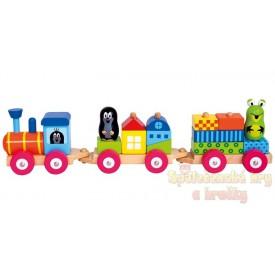 Dřevěný vlak s domečky - Krtek