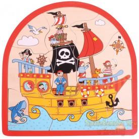 Dřevěné vkládací puzzle - Pirátská loď