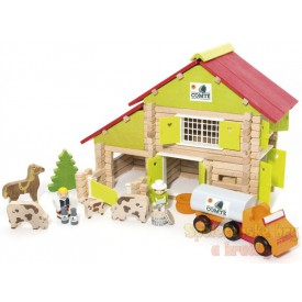 Dřevěná stavebnice Jeujura 180 dílů - Velká farma