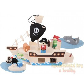Dřevěný hrací set Piráti