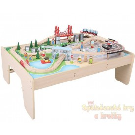 Dřevěná vláčkodráha Bigjigs se stolem - Město 61 dílů