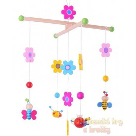 Bigjigs Toys Dřevěný závěsný kolotoč Květinky a motýlci