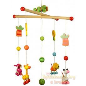 Bigjigs Toys Dřevěný závěsný kolotoč zvířátka