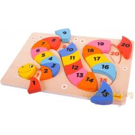 Dřevěná motorická a vzdělávací hračka - Čísla had