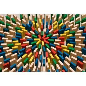 Dřevěné hry - Dřevěné domino v tubě - 400 ks