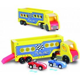 Dřevěná hračka Vilac - Nákladní auto se závodními auty