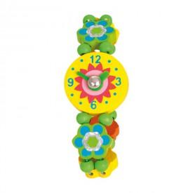 Dřevěné hračky - Dřevěné hodinky - kytičky