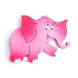 Dřevěné dekorace - magnetky - magnetka Slon červený