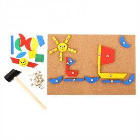 Dřevěná hra - Kreativní deska přibíjení tvarů